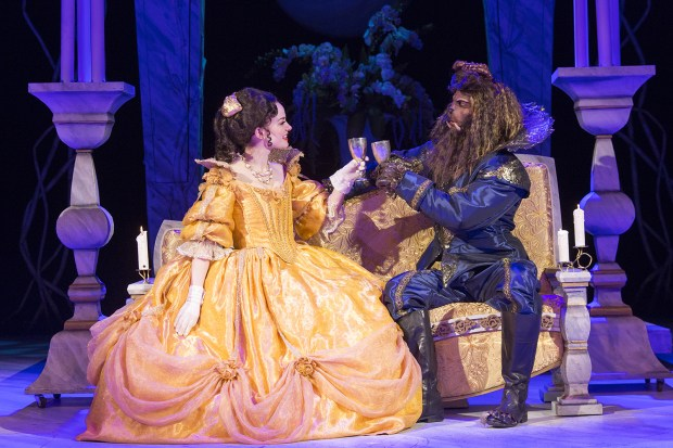 """Ruthanne Heyward is Belle and Robert O. Berdahl is The Beast in Chanhassen Dinner Theatre's """"Beauty and the Beast."""" (Photo by Heidi Bohnenkamp)"""