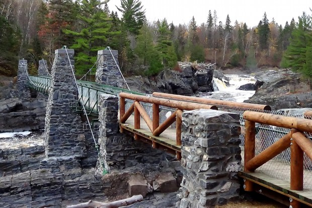 The swinging bridge at Jay Cooke State Park is seen Oct. 24, 2013. (Courtesy of the Minnesota Department of Natural Resources)