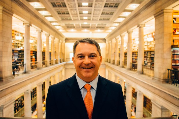 Patrick Donohue, pictured at the James J. Hill Research Library in downtown St. Paul, is president and CEO of Hill Capital Corp., an investment fund set up to use the resources of the nonprofit Hill Center to help small businesses find growth capital. (photo courtesy Hill Capital Corp.)