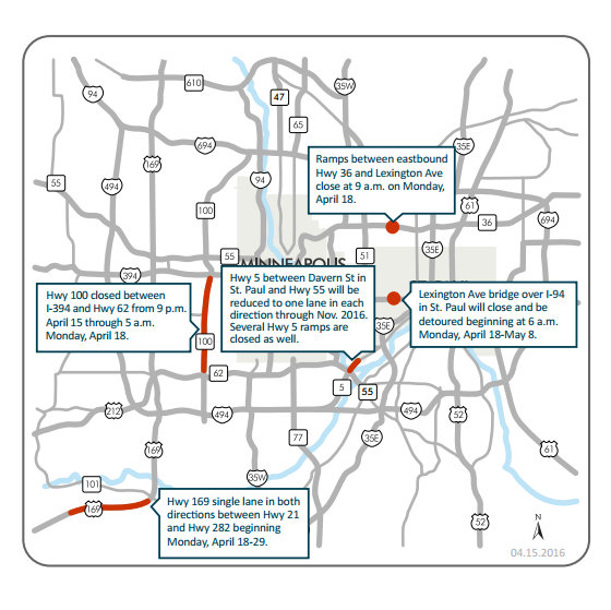 St Paul Traffic Map.Minneapolis St Paul Traffic Here Are Weekend Closures Twin Cities