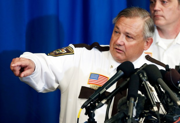 Carver County Sheriff Jim Olson addresses media questions Friday, April 22, 2016, in Chaska, Minn., where he gave an update on the death of pop superstar Prince, who died Thursday at the age of 57. (AP Photo/Jim Mone)
