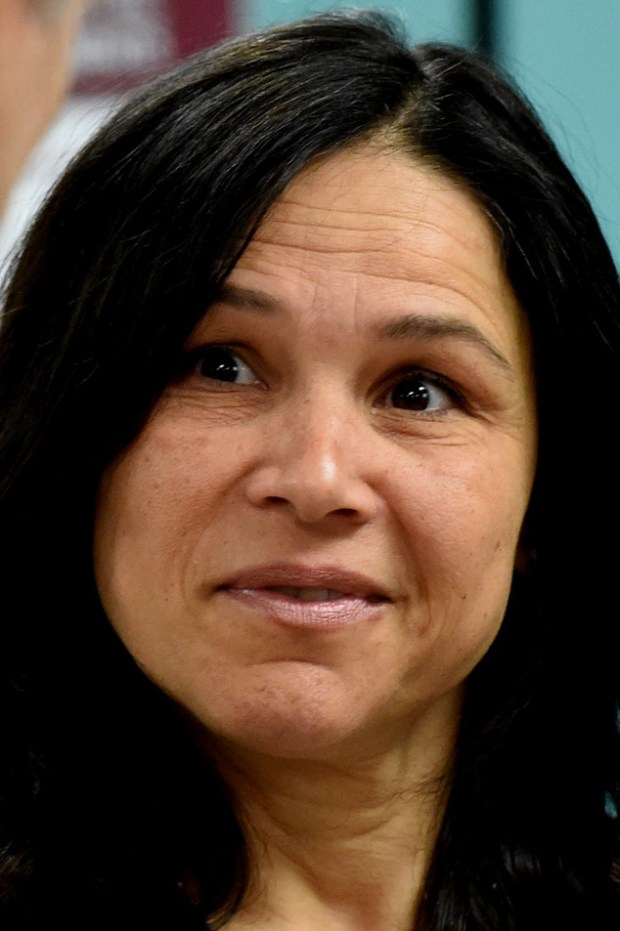 Brenda Cassellius, Education Commissioner, at a press conference after a tour of two preschool classes and a meeting with teachers, administrators and parents at Kaposia Education Center in South St. Paul on Thursday, March 31, 2016. (Pioneer Press: Jean Pieri)