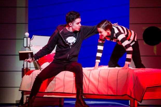 "Greg's older brother, Rodrick (Brandon Brooks), left, and Greg (Ricky Falbo) in a scene from an April 2016 rehearsal of ""Diary of a Wimpy Kid the Musical"" at Children's Theatre Company in Minneapolis. ""I see this on Broadway,"" said Jeff Kinney, author of the wildly popular children's books on which the world-premiere musical is based. Opening night is Friday, April 15. Photo courtesy of Children's Theatre Company: Dan Norman."