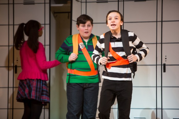 "Rowley (David Rosenthal), left, and Greg (Ricky Falbo) in a scene from an April 2016 rehearsal of ""Diary of a Wimpy Kid the Musical"" at Children's Theatre Company in Minneapolis. ""I see this on Broadway,"" said Jeff Kinney, author of the wildly popular children's books on which the world-premiere musical is based. Opening night is Friday, April 15. Photo courtesy of Children's Theatre Company: Dan Norman."