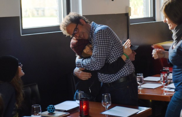Mucci's owner Tim Niver greets frequent customer Calder Alspach, 9, of Minneapolis. (Pioneer Press: John Autey)