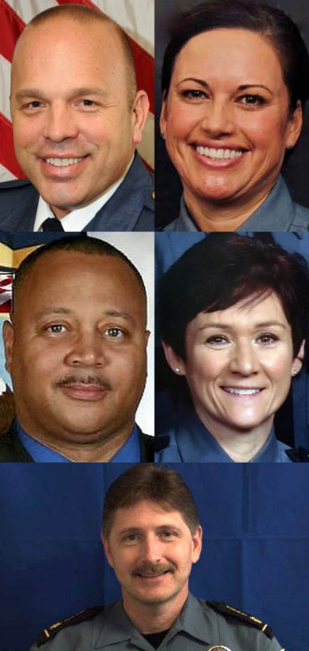 From top left, Assistant Chief Todd Axtell, Senior Cmdr. Tina McNamara; middle left, Minneapolis police Lt. Eddie Frizell and Cmdr. Colleen Luna; bottom, Matt Toupal (Courtesy photos)