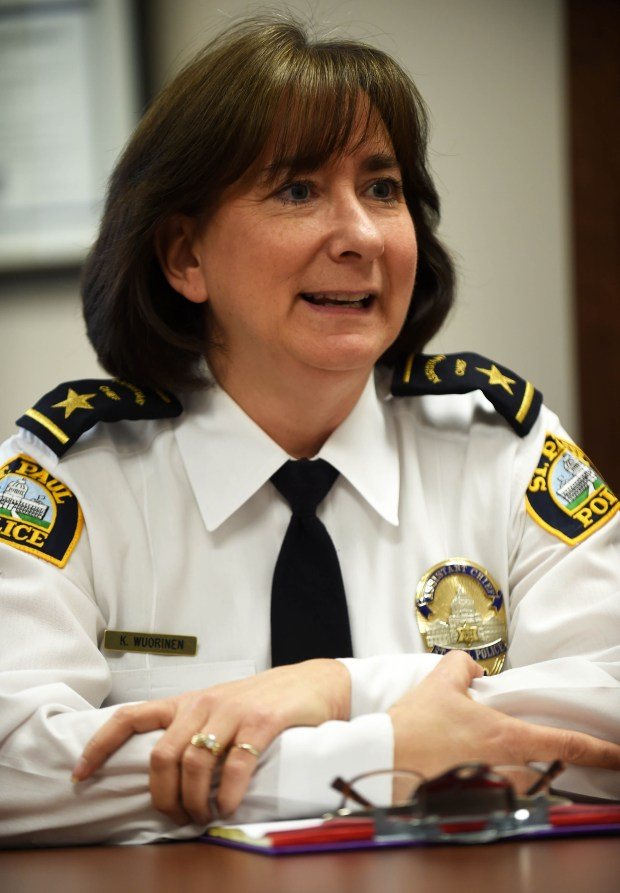 St. Paul Assistant Police Chief Kathy Wuorinen was named interim police chief on Thursday, April 7, 2016 and will be the first woman to lead the cityÕs police department. Wuorinen, a St. Paul police officer for 27 years, will take the departmentÕs helm when Chief Thomas Smith retires May 10. SheÕll likely hold the position for two or three months before a permanent chief takes over. (Pioneer Press: Scott Takushi)