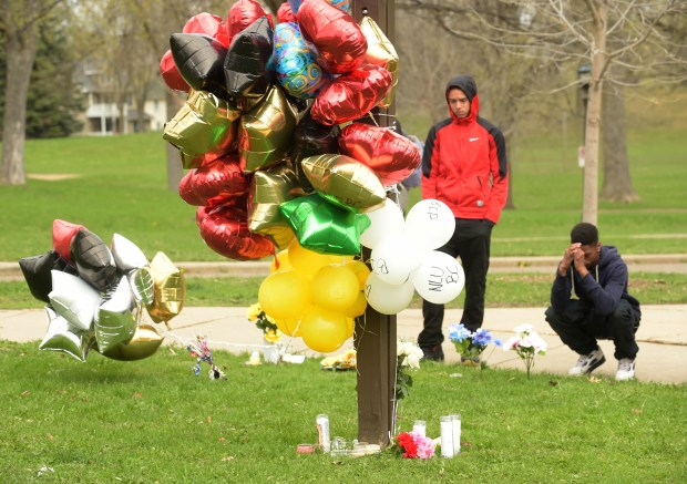 A memorial at Mounds Park for Bobby Collins on April 19, 2016. (Pioneer Press: Scott Takushi)