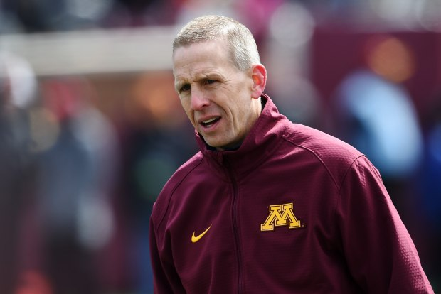 The Gophers then-offensive coordinator Jay Johnson in the second half of the Gophers Spring Practice game at TCF Bank Stadium on Saturday, April 9, 2016. The Gold team beat the White team, 19-7. (Pioneer Press: John Autey)