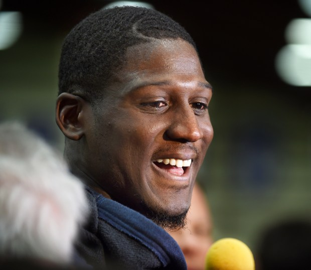 Cornerback Xavier Rhodes speaks with the media as the Minnesota Vikings held a workout at their headquarters in Eden Prairie, Mn., Tuesday, April 26, 2016.  (Pioneer Press: Scott Takushi)