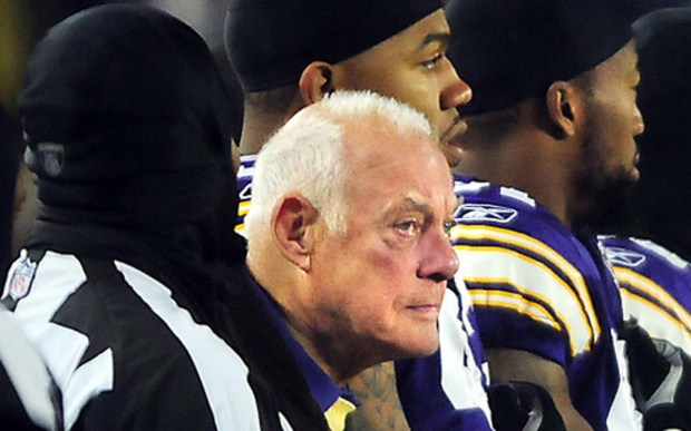 Former Minnesota Vikings coach Bud Grant, the team's winningest coach, is 89. He's a native of Superior, Wis., and was a three-sport athlete at the University of Minnesota. In fact, he played for the Minneapolis Lakers for two seasons before jumping to the NFL's Philadelphia Phillies. He took the Vikings to the Super Bowl all four times they've been there. But of course they lost each time. He's shown with Vikings players during the National Anthem before the team played the Chicago Bears at TCF Bank Stadium in Minneapolis in December 2010, after the Metrodome collapsed. (Pioneer Press: Ben Garvin)