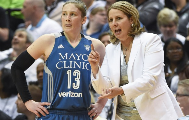 Minnesota Lynx head coach Cheryl Reeve, left, talks with guard Lindsay Whalen during a break in action against the Phoenix Mercury in the first half at Target Center in Minneapolis on Saturday, May 14, 2016. (Special to the Pioneer Press: Craig Lassig)
