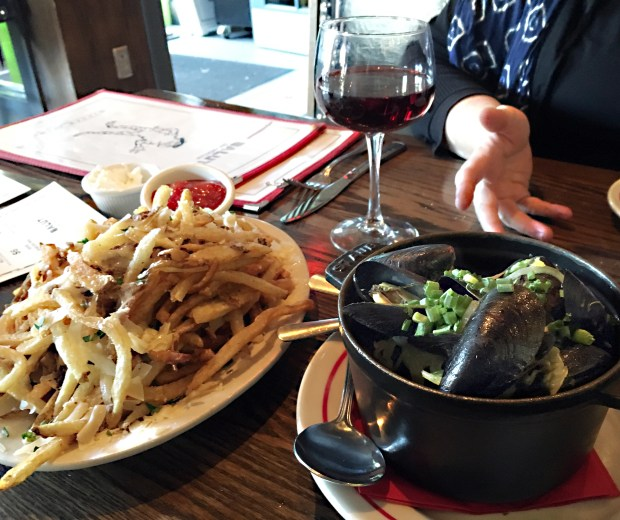 May 12, 2016 photo of truffle fries and mussels at Salut on Grand Avenue in St. Paul. (Pioneer Press: Jessica Fleming)