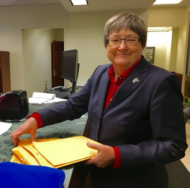 Rep. Barb Yarusso, DFL-Shoreview files for re-election at the Minnesota Secretary of State's Office Tuesday, May 17 (Pioneer Press: Tory Cooney)
