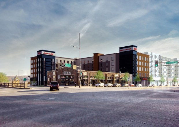 Artistic rendering of the Hampton Inn and Suites to be built this fall on West Seventh Street.