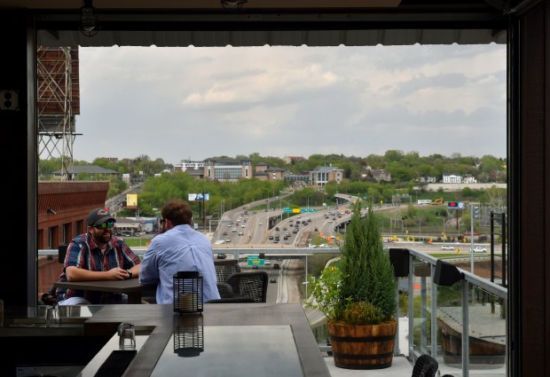 The rooftop patio at the Ox Cart Restaurant in St. Paul's Lowertown district, photographed on Tuesday, May 3, 2016. (Pioneer Press: John Autey)