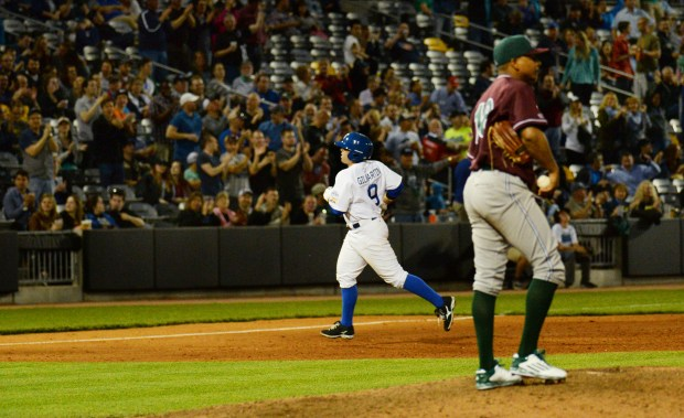 St. Paul Saints infielder Mike Gilmartin rounds the base after hitting a two run homerun off Gary Southshore Railcats pitcher Charle Rosario in the fifth inning on May 19, 2016. (Pioneer Press: John Autey)