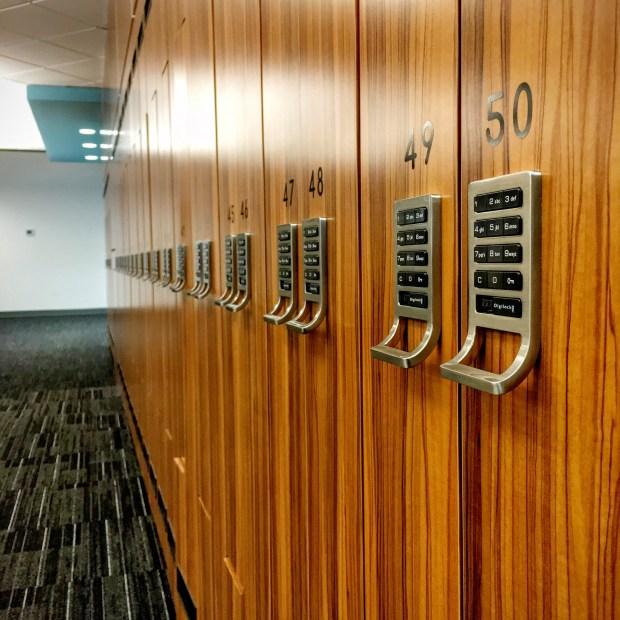 Grooviest lockers ever? These are used by Comcast call-center trainees until they score their own cubicles. (Pioneer Press: Julio Ojeda-Zapata)