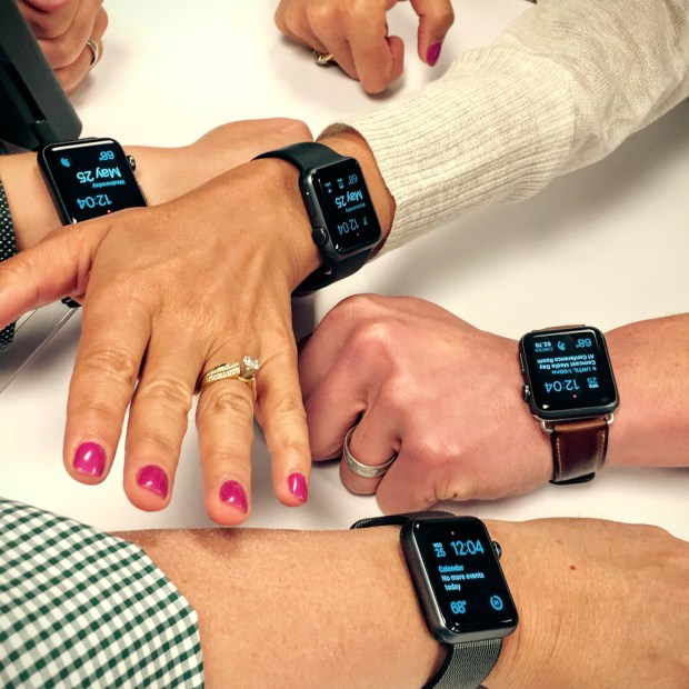 The obligatory close-up shot when it is discovered that everyone in the room is wearing an Apple Watch. (Pioneer Press: Julio Ojeda-Zapata)