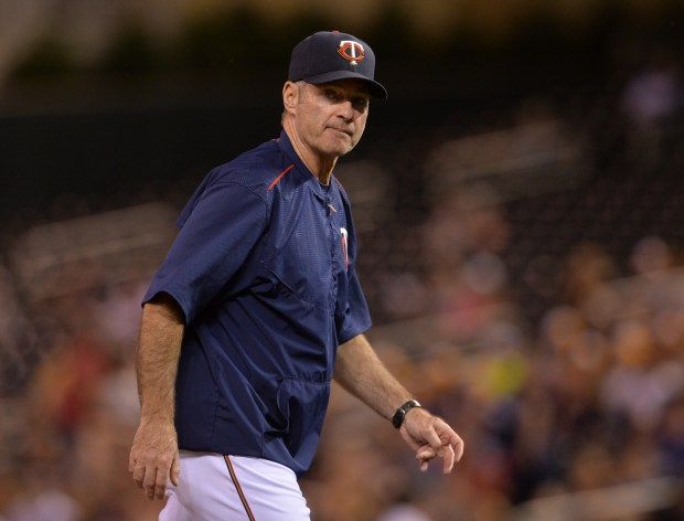 Minnesota Twins manager Paul Molitor walks back to the dugout after making a pitcher change against the Kansas City Royals in the ninth inning at Target Field on Tuesday, May 24, 2016. The Royals beat the Twins, 7-4. (Pioneer Press: John Autey)