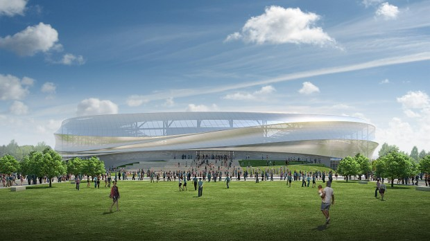 This new rendering shows Minnesota United FC's stadium outside the stadium during the day. (Courtesy of Minnesota United FC)