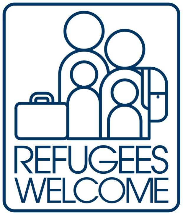 "The ""Refugees Welcome"" sticker has spread around the world. (Burlesque Design)"
