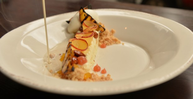 The smoked peaches and cream dessert at the Handsome Hog restaurant in Lowertown in St. Paul on Wednesday, June 1, 2016. (Pioneer Press: John Autey)