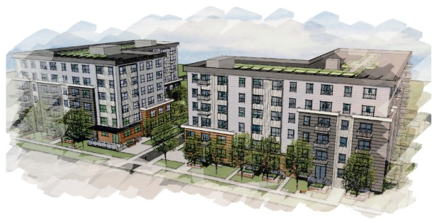 CPM Development and the Michaels Development Company have proposed 246 units of affordable housing in two L-shaped buildings on Lexington Parkway, between University Avenue and Interstate 94. The $39.3 million Lexington Station Apartments would be located within walking distance of the Lexington Parkway light rail station. Undated image, circa June 2016.  Renderings courtesy of Cuningham Group Architecture, Inc.