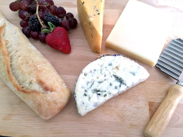 Baguette with English Cotswold, Gruyere Switzerland and Fourme D'Ambert Raw Milk France cheeses from Lunds in St. Paul. (Pioneer Press: Nancy Ngo)