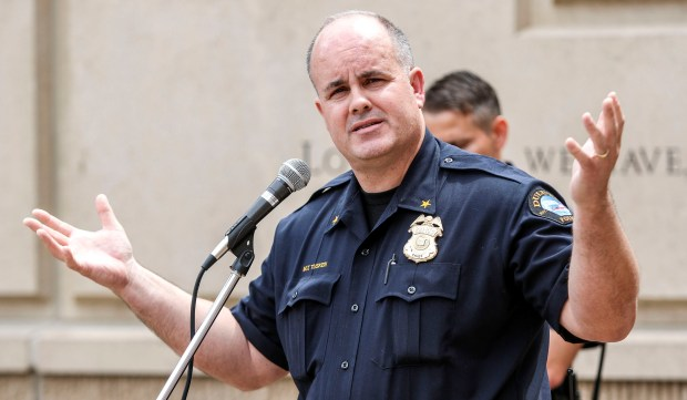 Duluth Police Chief Mike Tusken speakis Friday, June 17, 2016, at the annual Clayton Jackson McGhie Memorial Day of Remembrance ceremony remembering the 1920 lynching that occurred in Duluth. (Clint Austin / caustin@duluthnews.com)