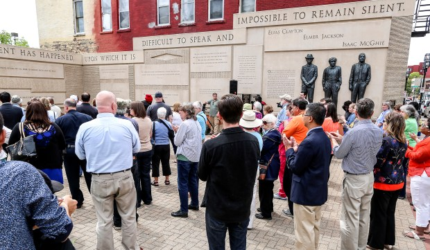 People fill the Clayton Jackson McGhie Memorial in downtown Duluth for the annual Day of Remembrance ceremony Friday, June 17, 2016. (Clint Austin / caustin@duluthnews.com)