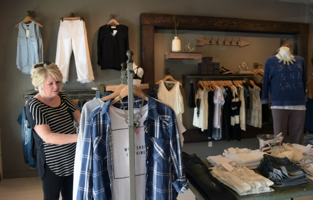 AnnMarie Schultz of Chanhassen shops at Cham Bray in downtown Waconia on Sunday, April 17, 2016. (Pioneer Press: Scott Takushi)