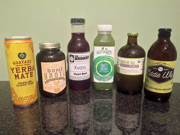 Fermented green drinks and other health drinks abound in the refrigerated section at Whole Foods on Selby Avenue in St. Paul. (Pioneer Press: Nancy Ngo)