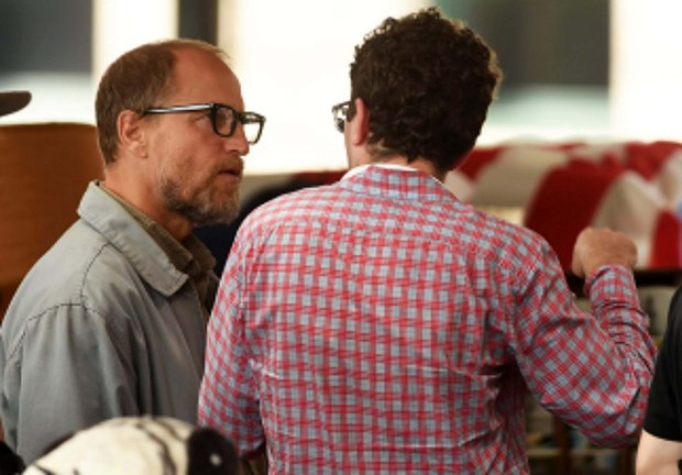 """Here's Woody Harrelson, left, and director Craig Johnson conferring in June 2015 on the set of """"Wilson,"""" at the St. Paul Farmers Market. ( Scott Takushi/Pioneer Press)"""