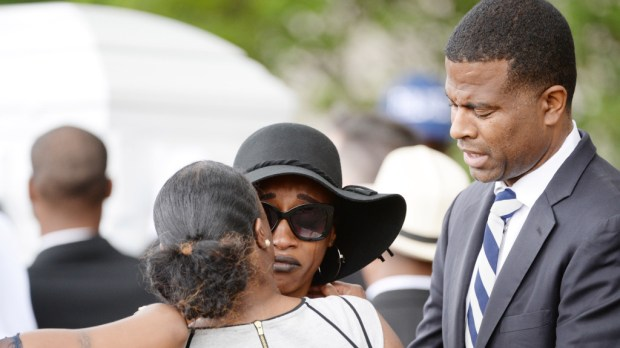 Tears stream down the face of Diamond Reynolds as the casket of her boyfriend, Philando Castile, is carried into the Cathedral of St. Paul for visitation on Thursday, July 14, 2016. (Pioneer Press: Holly Peterson)