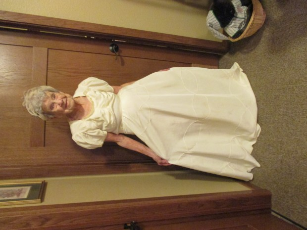"""Till death us do part (responsorial) ... JUDY writes: """"I just finished reading the post about the lady [Bloomington Bird Lady; BB, 7/5/2016] who just threw her wedding dress in the garbage on her 64th wedding anniversary. Just two weeks ago, I was visiting my mom, from St. Cloud. She is now living in Sartell at Country Manor, Waterford apartments. Mom fell and broke her hip in February, and we are just finishing up moving things from her home to the apartment. We are also getting ready to celebrate her 100th birthday with a party on July 30th. One of the things we salvaged, stored in the garage, in a box, was her 1940 wedding dress. Mom and Dad were married for 67 years before we lost Dad. During my visit, Mom tried the wedding dress on for me. It still fit. She told me she paid $3.98 for the dress, but the cost of the veil and tiara was $5.98. The veil has long since disintegrated, but the dress — a little more yellow — is still intact. How special it was to see Mom wearing that special dress."""""""