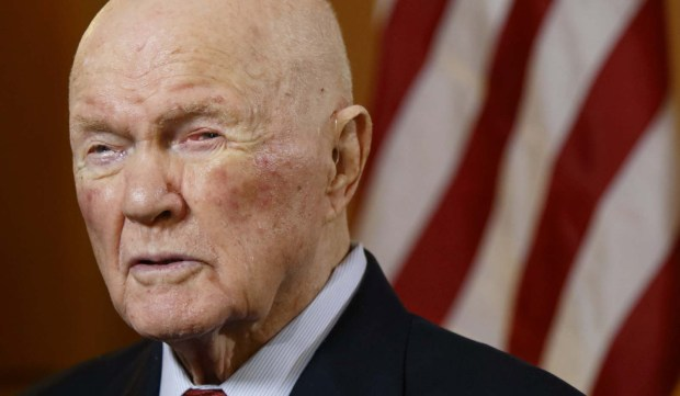 "Former astronaut and U.S. senator John Glenn is 95. The first person to orbit Earth (in 1962) is shown in a May 2015 interview in which he said that he sees no contradiction between believing in God and believing in evolution. When he went back into space in 1998, he had announced that ""to look out at this kind of creation out here and not believe in God is to me impossible."" (Associated Press: Paul Vernon)"