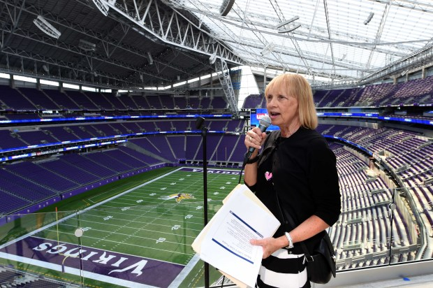 Michele Kelm-Helgen, chair of the Minnesota Sports Facilities Authority, speaks during a media tour of U.S. Bank Stadium in Minneapolis on Tuesday, July 19, 2016. (Pioneer Press: Scott Takushi)
