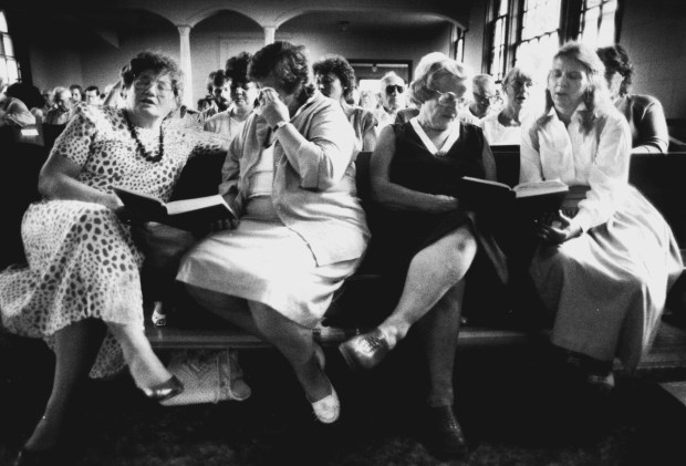 The front pews of the church are filled with women, political proteges Hanson had asked to serve as honorary pallbearers after his death. (Pioneer Press: Jean Pieri)
