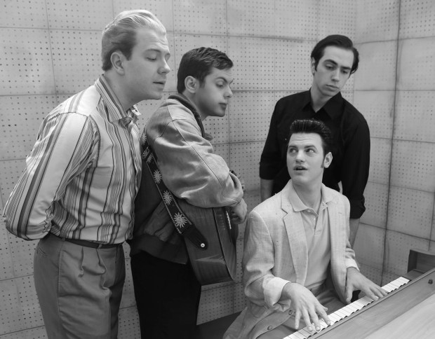 "Eric Morris, left, is Jerry Lee Lewis, Matt Tatone is Carl Perkins, Frank Moran is Elvis Presley and Eric Sargent is Johnny Cash in Old Log Theatre's ""Million Dollar Quartet."" (Old Log Theatre photo)"