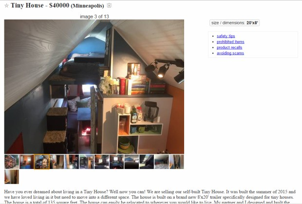 """I wonder if the """"Harry Potter"""" books come with this tiny house? See the online ad here: https://minneapolis.craigslist.org/hnp/tro/5645648058.html"""