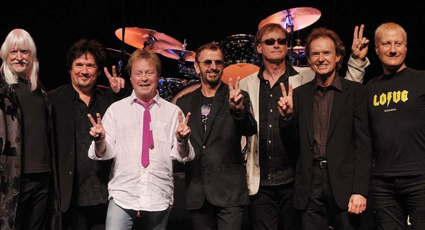 """Rocker Rick """"Rock and Roll, Hoochie Koo"""" Derringer, third from left, is 69. (He also was in the band the McCoys, best known for """"Hang On, Sloopy."""" He's shown in a 2011 photo with bandmates of Ringo Star's band the All Starrs, from left, the late Edgar Winter, Wally Palmer, Derringer, Starr, Richard Page, Gary Wright and Gregg Bissonette, at the launch of the group's European tour. (Getty Images: Ben Stansall)"""