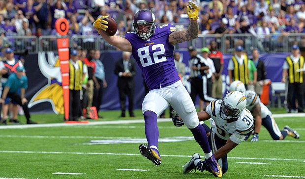 Minnesota tight end Kyle Rudolph scores the Vikings' first touchdown in a preseason game against the San Diego Chargers at U.S. Bank Stadium on Aug. 28, 2016. (Pioneer Press: John Autey)