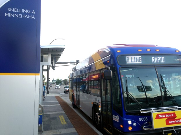 A Metro Transit rapid transit bus pulls up to the Snelling and Minnehahastation Aug. 2, 2016. (Jaime DeLage / Pioneer Press)