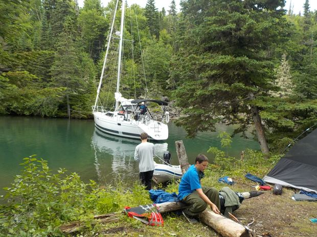 Adrian Rios-Wolfram, in blue, and Matthew Verweg, were among the Twin Cities Boy Scouts who went on a multi-day trip sailing and camping along the Canadian coast of Lake Superior. (Alfy Wolfram)