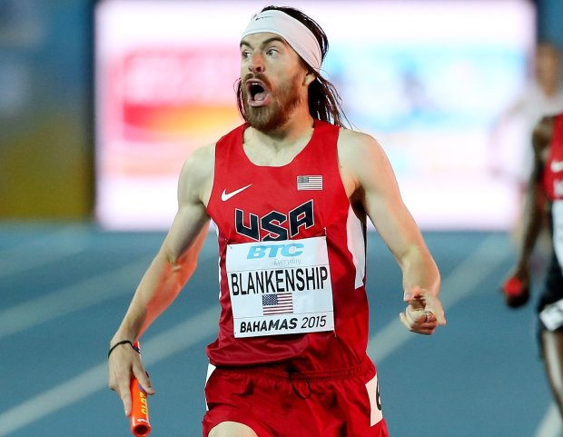 Ben Blankenship of the United States celebrates after winning the final of the men's distance medley relay on day two of the IAAF/BTC World Relays, Bahamas 2015 at Thomas Robinson Stadium on May 3, 2015 in Nassau, Bahamas. (Photo by Mike Ehrmann/Getty Images for IAAF)