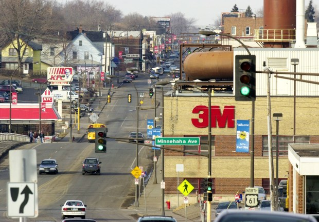 An announcement was made by 3M on Feb. 7, 2002 that 500 jobs would be lost at its East Side facility which continued the trend of jobs leaving the area, This photo was taken looking north up Arcade Ave. (Pioneer Press: file photo/Chris Polydoroff)