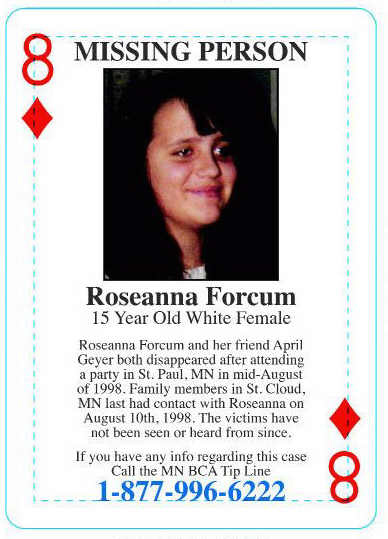 Roseanna Forcum: The cases of the missing young women are included in the Minnesota Bureau of Criminal Apprehension's cold case playing cards, which have been distributed at Minnesota prisons and elsewhere to try to generate information about cold cases. (Courtesy Minnesota BCA)