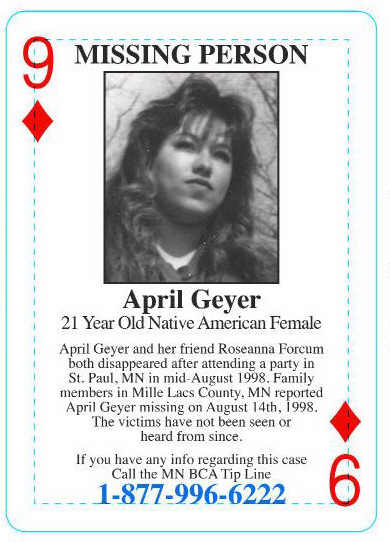 April Geyer: The cases of the missing young women are included in the Minnesota Bureau of Criminal Apprehension's cold case playing cards, which have been distributed at Minnesota prisons and elsewhere to try to generate information about cold cases. (Courtesy Minnesota BCA)
