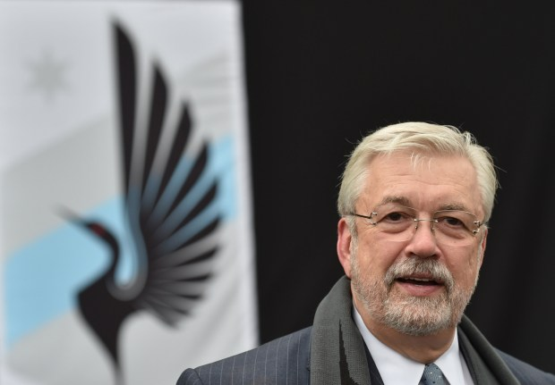 """Minnesota United FC owner Bill McGuire stands before the Loon """"crest"""" as Minnesota United FC announces it's joining Major League Soccer, at a ceremony at CHS Field in St. Paul on Aug. 19, 2016. (Pioneer Press: John Autey)"""